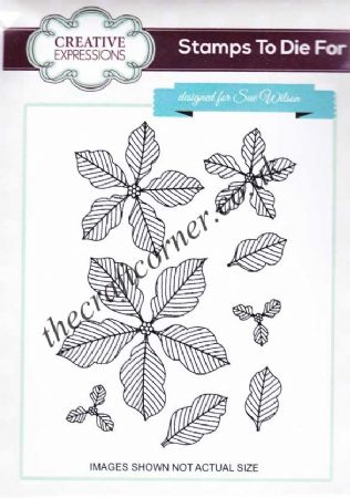 Pinstripped Poinsettias Unmounted Rubber Stamps by Sue Wilson